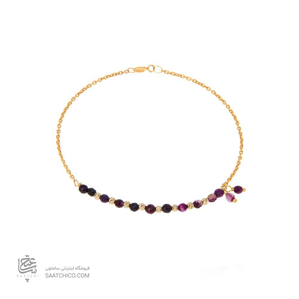 دستبند طلا زنانه با سنگ و گوی البرنادو کد XB832