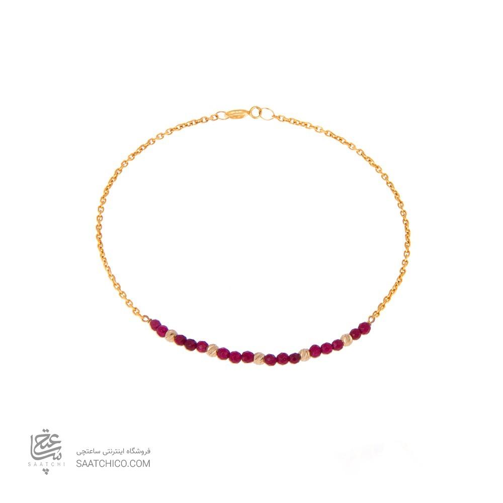 دستبند طلا زنانه با سنگ و گوی البرنادو کد xb834