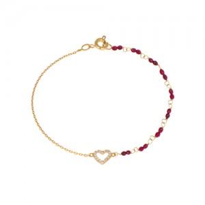 دستبند طلا زنانه طرح قلب با نگین و سنگ کد xb835