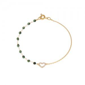دستبند طلا زنانه طرح قلب با نگین و سنگ کد xb836
