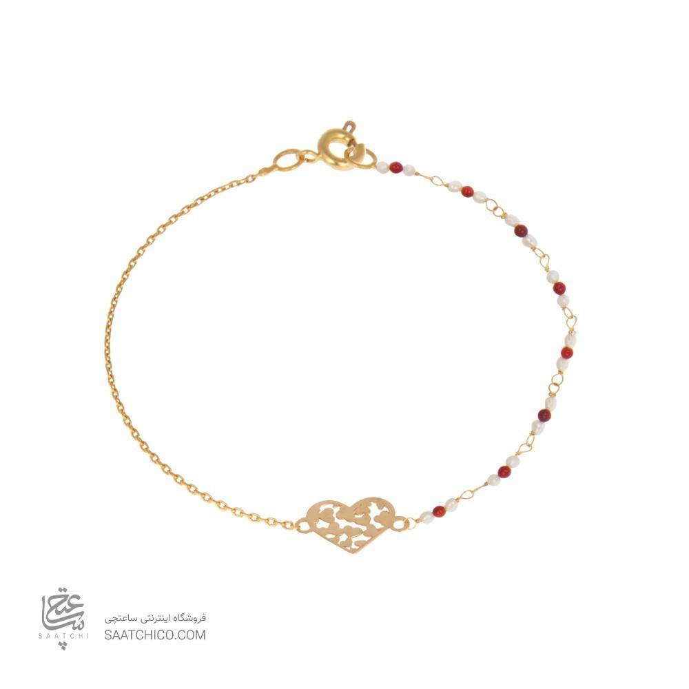 دستبند طلا زنانه طرح قلب با سنگ و مروارید کد xb839