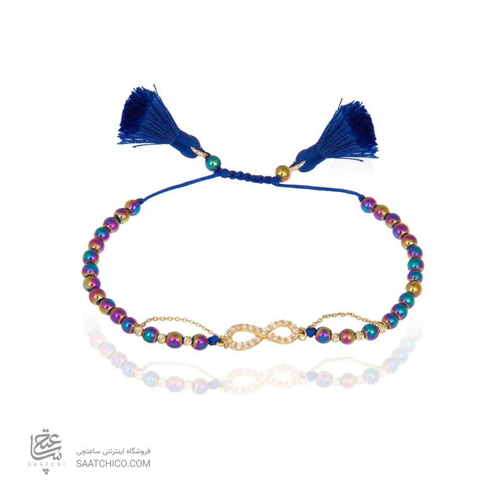 دستبند طلا زنانه طرح بی نهایت با نگین و گوی البرنادو کد xb840