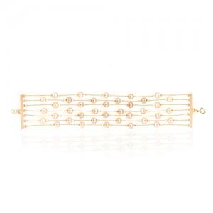 دستبند هفت رج زنجیر و مروارید کد xb841
