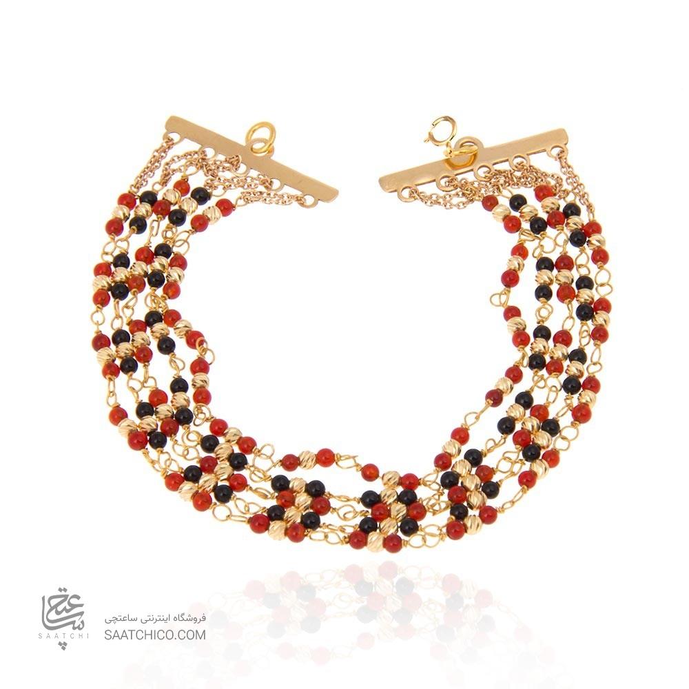 دستبند طلا زنانه با سنگ و گوی البرنادو کد xb842