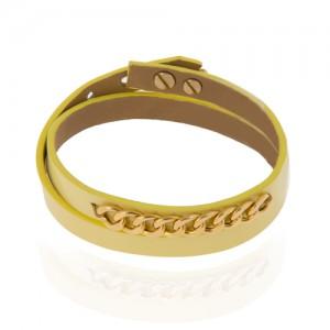 دستبند چرم و طلا زنانه زنجیر کارتیه کد xb845