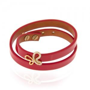 دستبند چرم و طلا زنانه طرح پروانه با نگین کد xb846
