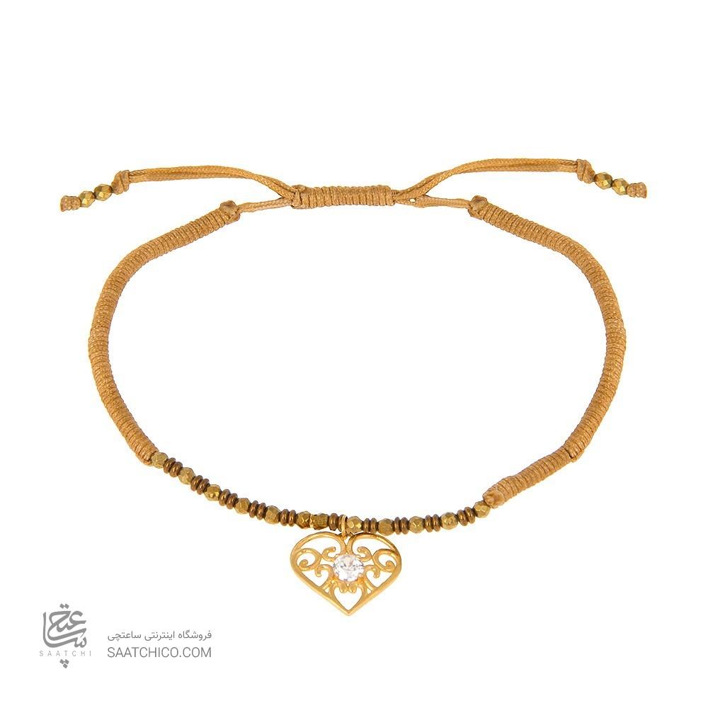 دستبند طلا زنانه طرح قلب با نگین cz کد xb847