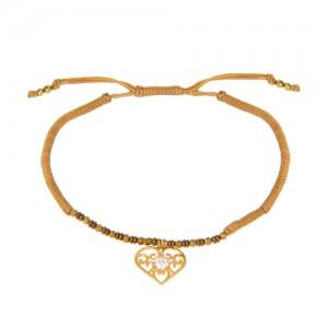 دستبند طلا زنانه طرح قلب با نگین کد xb847