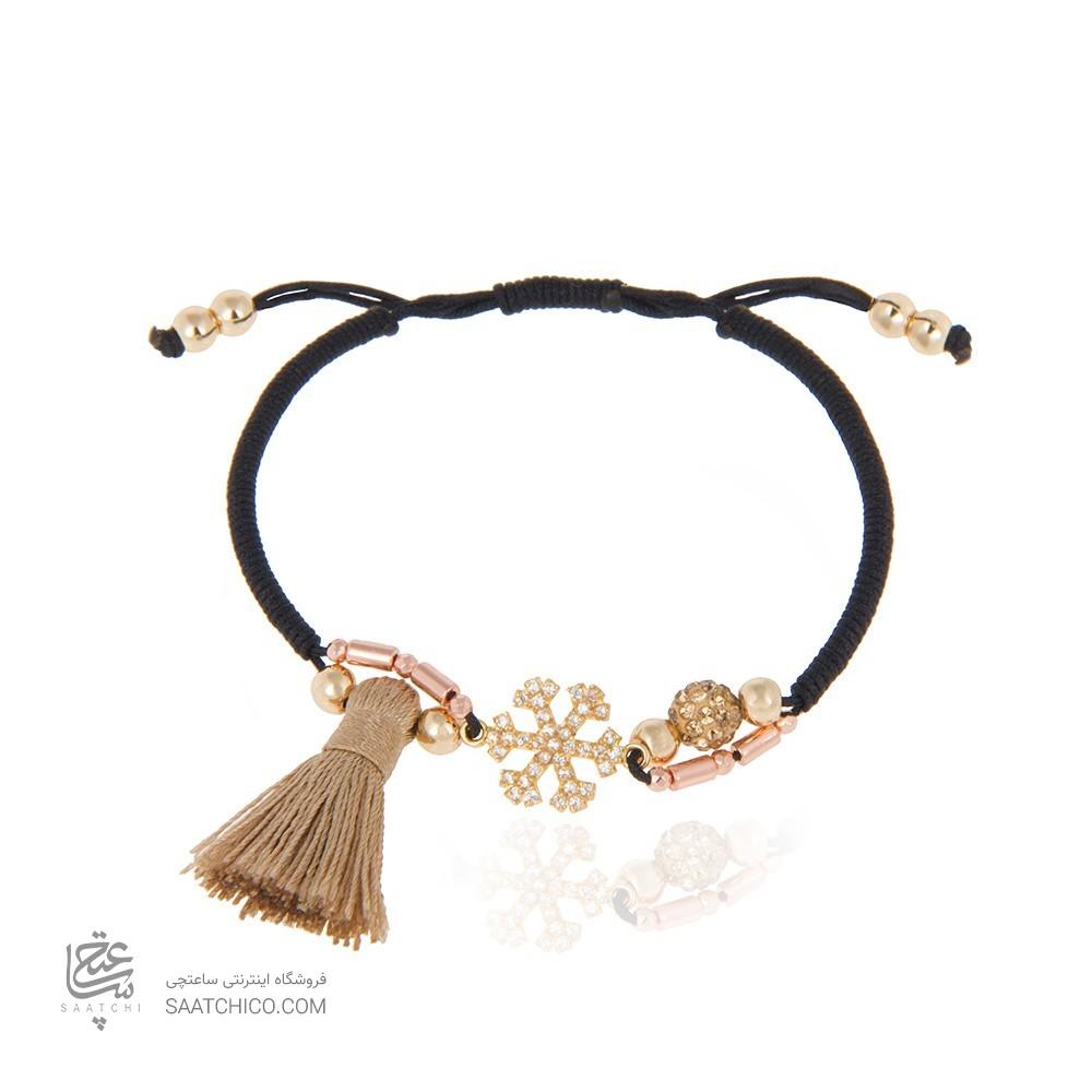 دستبند طلا زنانه طرح دانه برف با نگین های cz با سنگ کد xb850