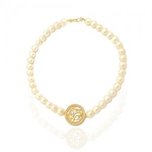 گردنبند طلا زنانه طرح اسلیمی با مروارید و صدف کد xn101
