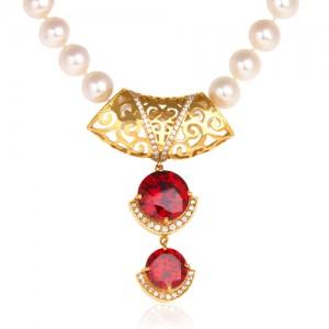 گردنبند طلا زنانه طرح اسلیمی با نگین و مروارید کد xn102