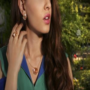 گردنبند طلا زنانه طرح مولتی کالر با نگین و مروارید  کد xn103