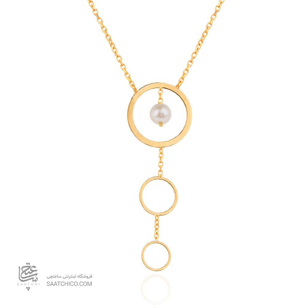 گردنبند طلا زنانه طرح دایره با مروارید کد xn109