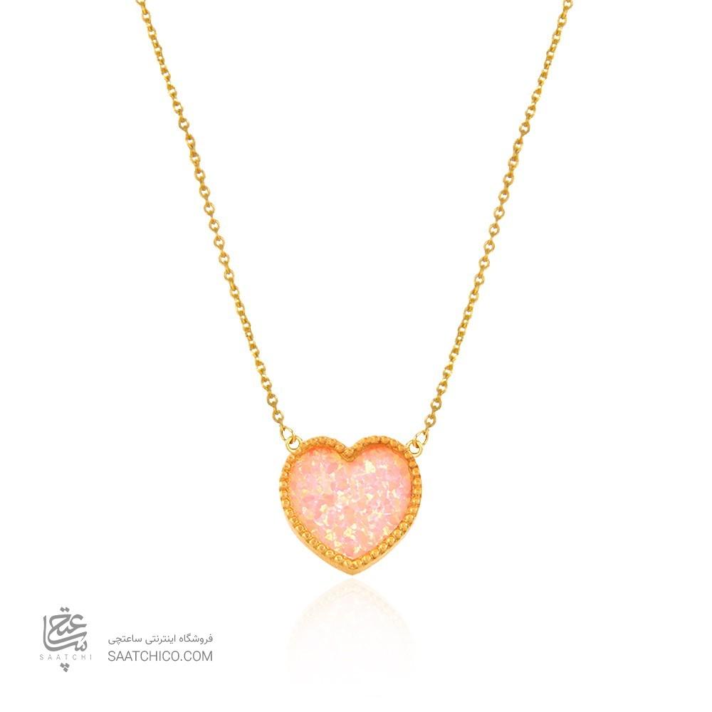 گردنبند طلا زنانه طرح قلب با سنگ اوپال کد xn112