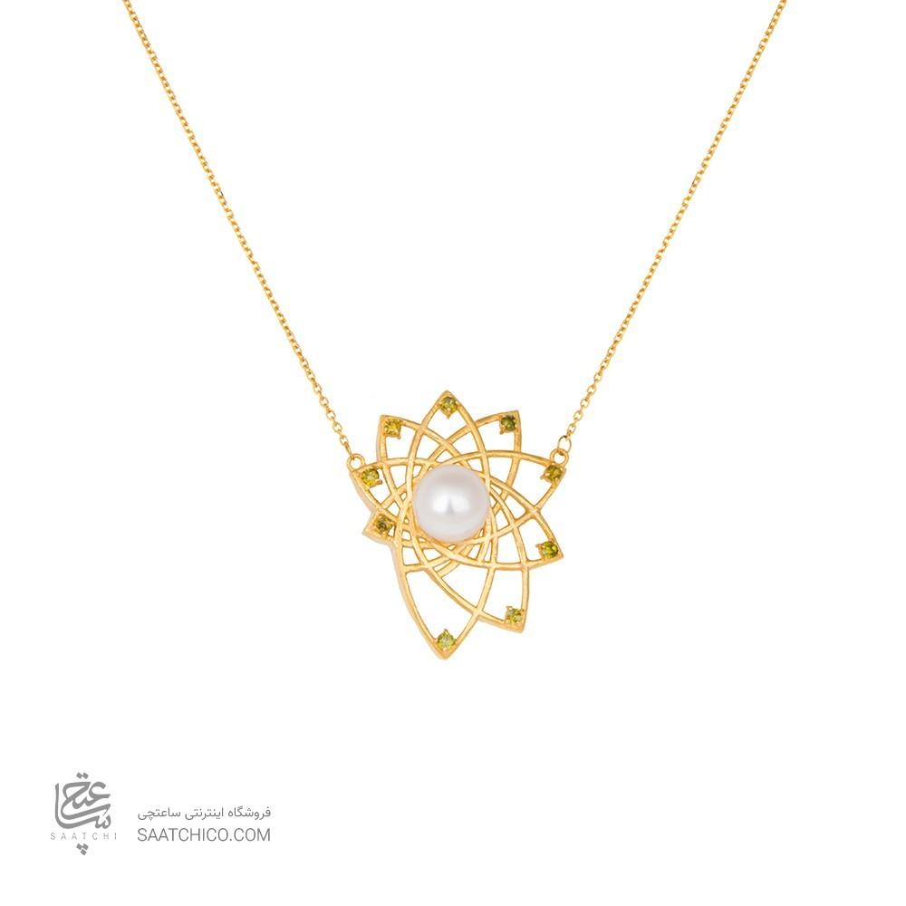 گردنبند طلا زنانه طرح هندسی با نگین و مروارید کد xn114