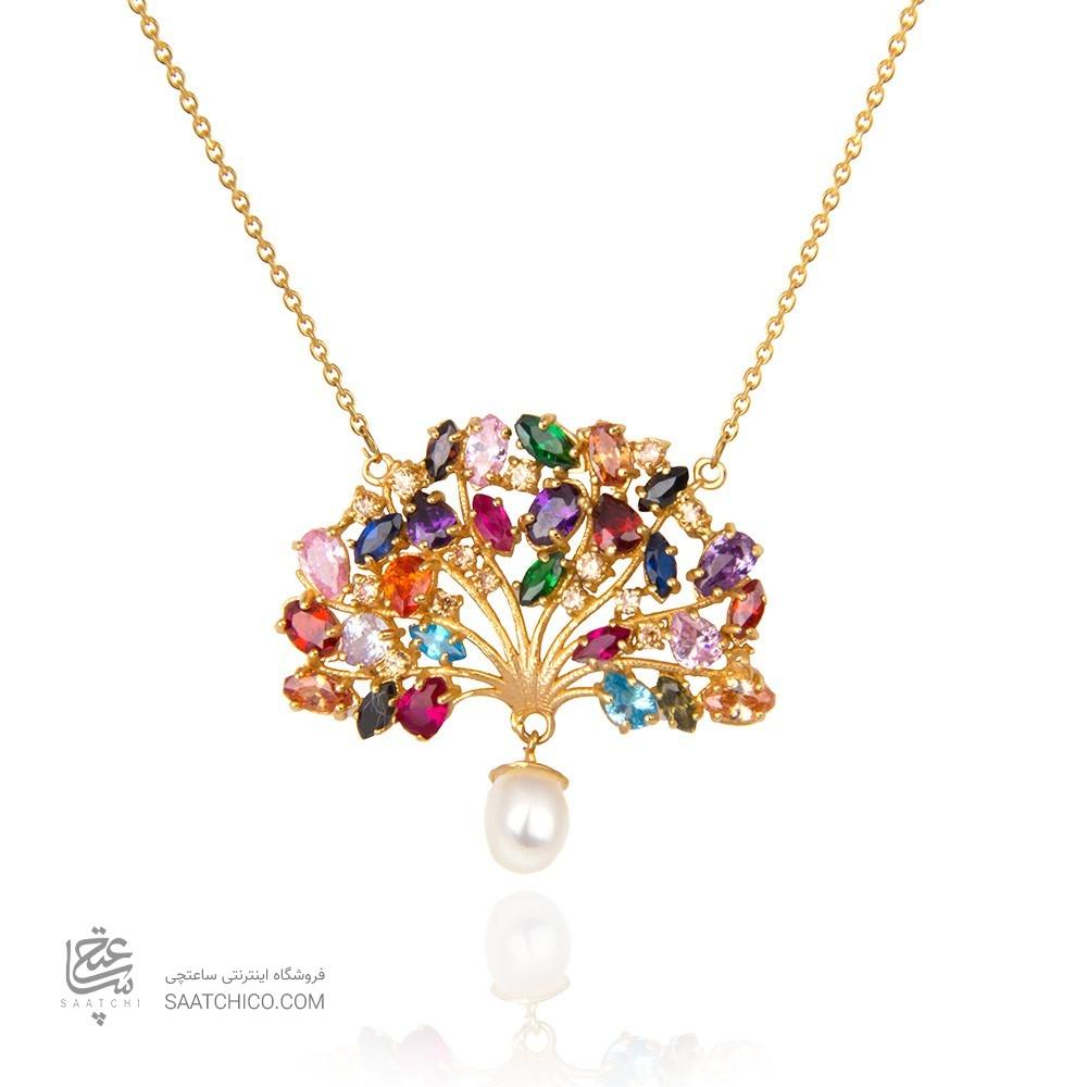 گردنبند طلا زنانه طرح درخت با نگین های cz و مروارید کد xn115