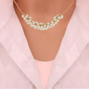 گردنبند طلا زنانه طرح کلاسیک با مروارید  کد xn118
