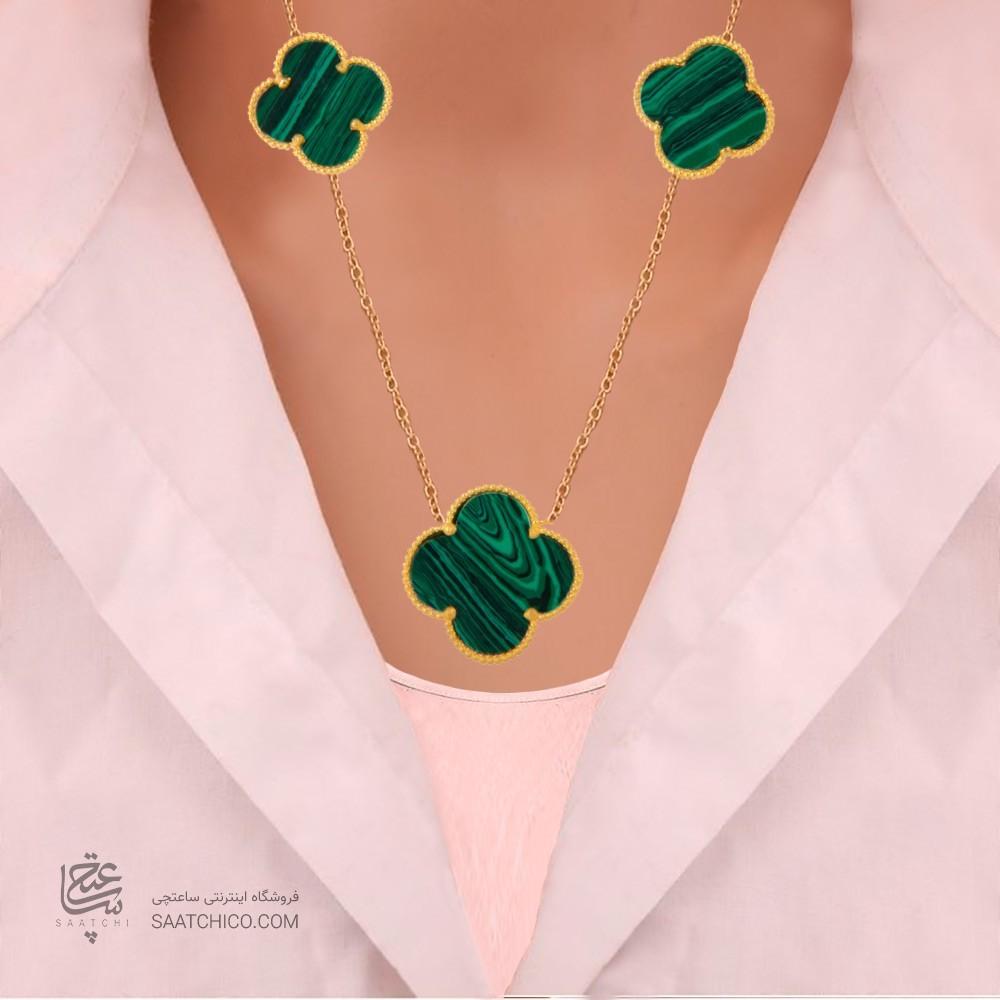 گردنبند طلا زنانه طرح چهار پر ونکلیف کد xn119