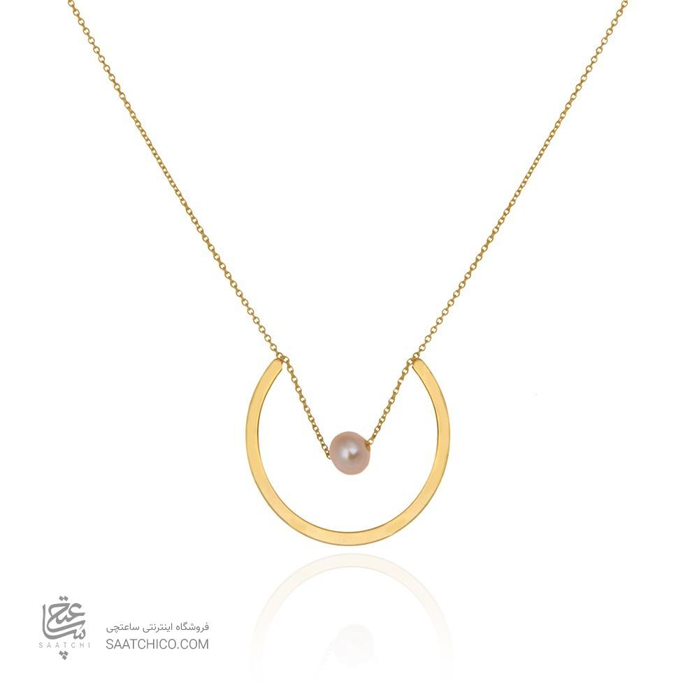 گردنبند طلا زنانه طرح هندسی با مروارید کد xn120