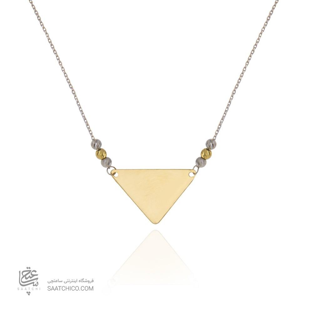 گردنبند طلا زنانه طرح هندسی با گوی طلا کد xn122
