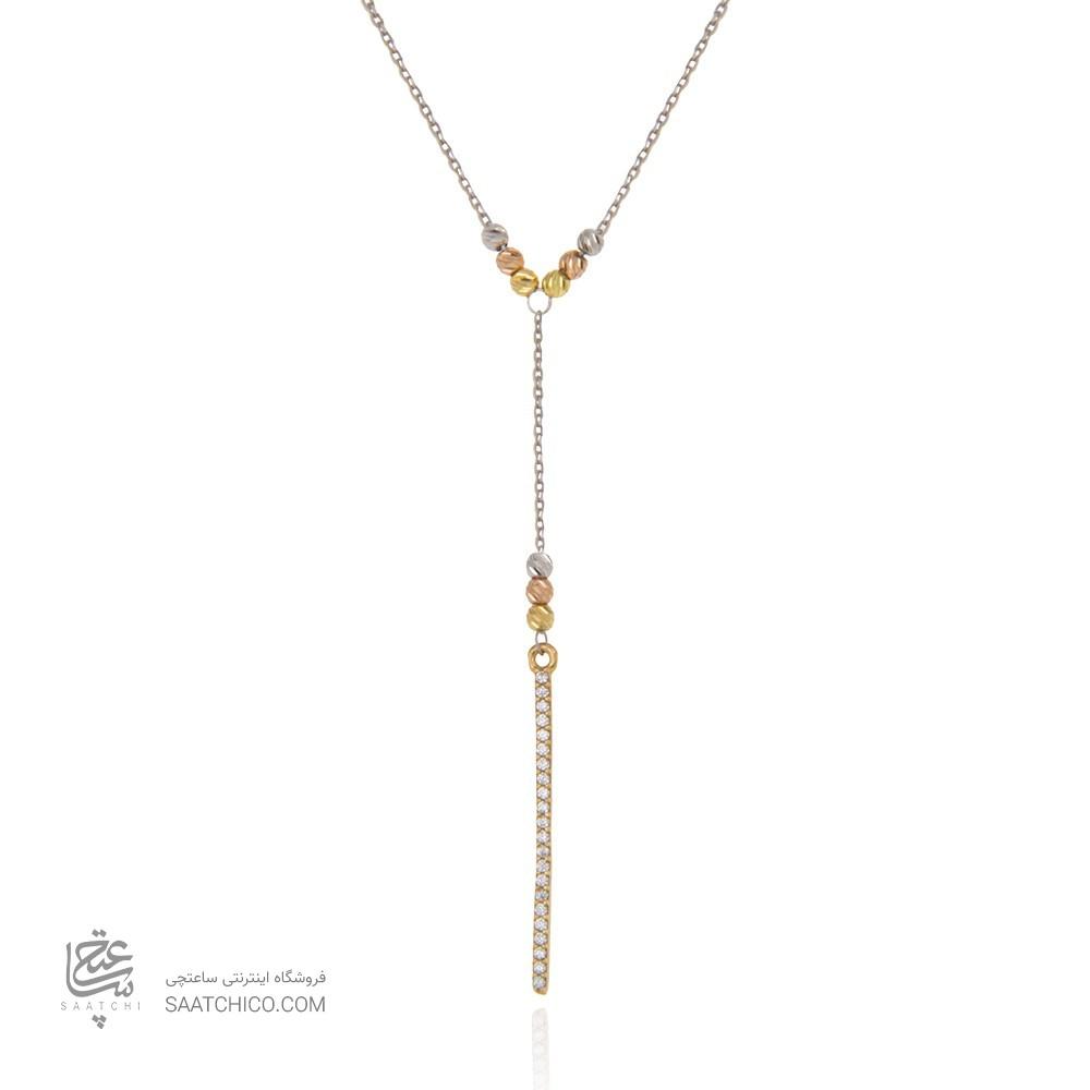 گردنبند طلا زنانه طرح کلاسیک با نگین های cz و گوی طلا کد xn123