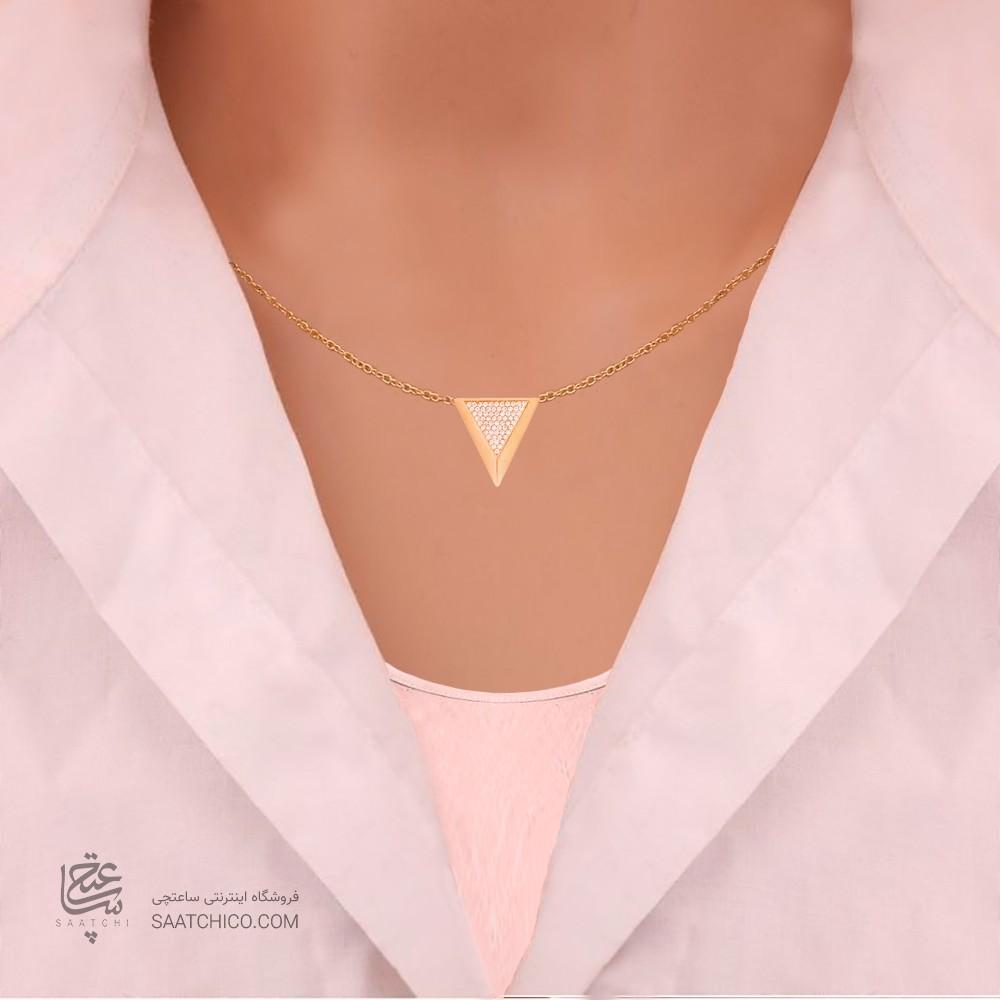 گردنبند طلا زنانه طرح هندسی با نگین های cz کد CN324
