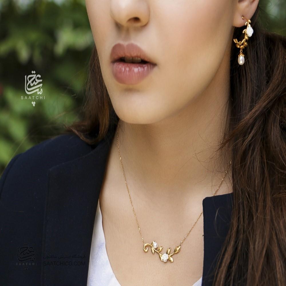 گوشواره طلا زنانه طرح شاخه گل کد xe216