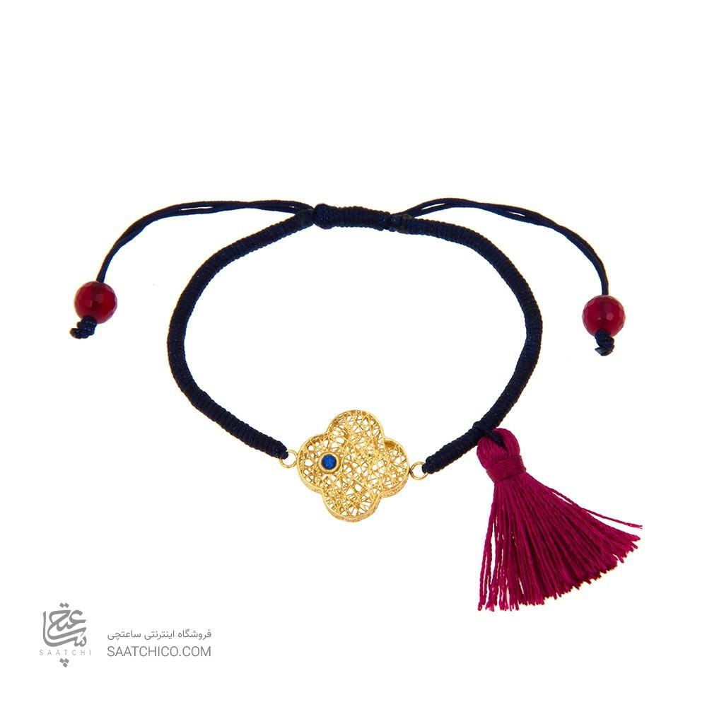 دستبند طلا زنانه طرح گل چهار پر ونکلیف با نگین رنگی کد xb851
