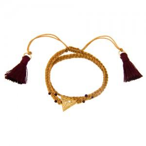 دستبند طلا زنانه طرح مثلث فیوژن با بافت دو لایه کد xb852