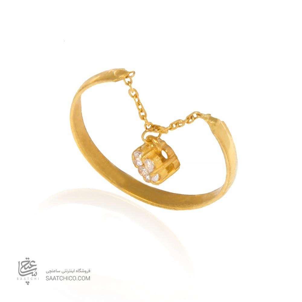 انگشتر طلا زنانه آویزدار با نگین کد cr364