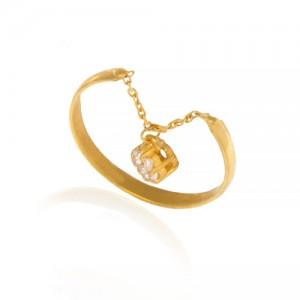 انگشتر طلا زنانه آویزدار با نگین های cz کد cr364
