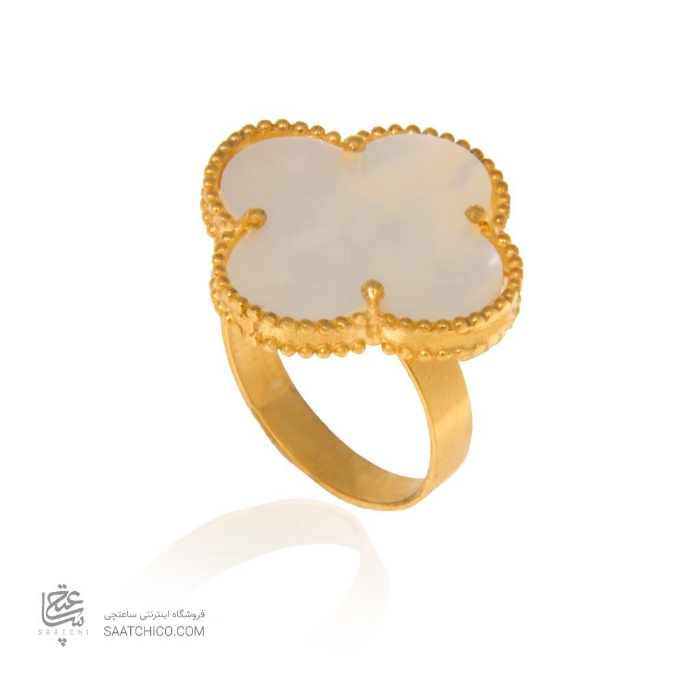 انگشتر طلا زنانه طرح گل چهار پر ونکلیف کد cr365