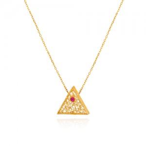 گردنبند طلا زنانه طرح مثلث با نگین کد cn341
