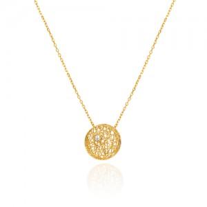 گردنبند طلا زنانه طرح فیوژن دایره با نگین کد cn342