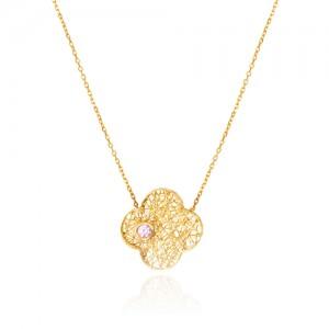 گردنبند طلا زنانه طرح گل چهار پر ونکلیف  با نگین رنگی cz کد cn343