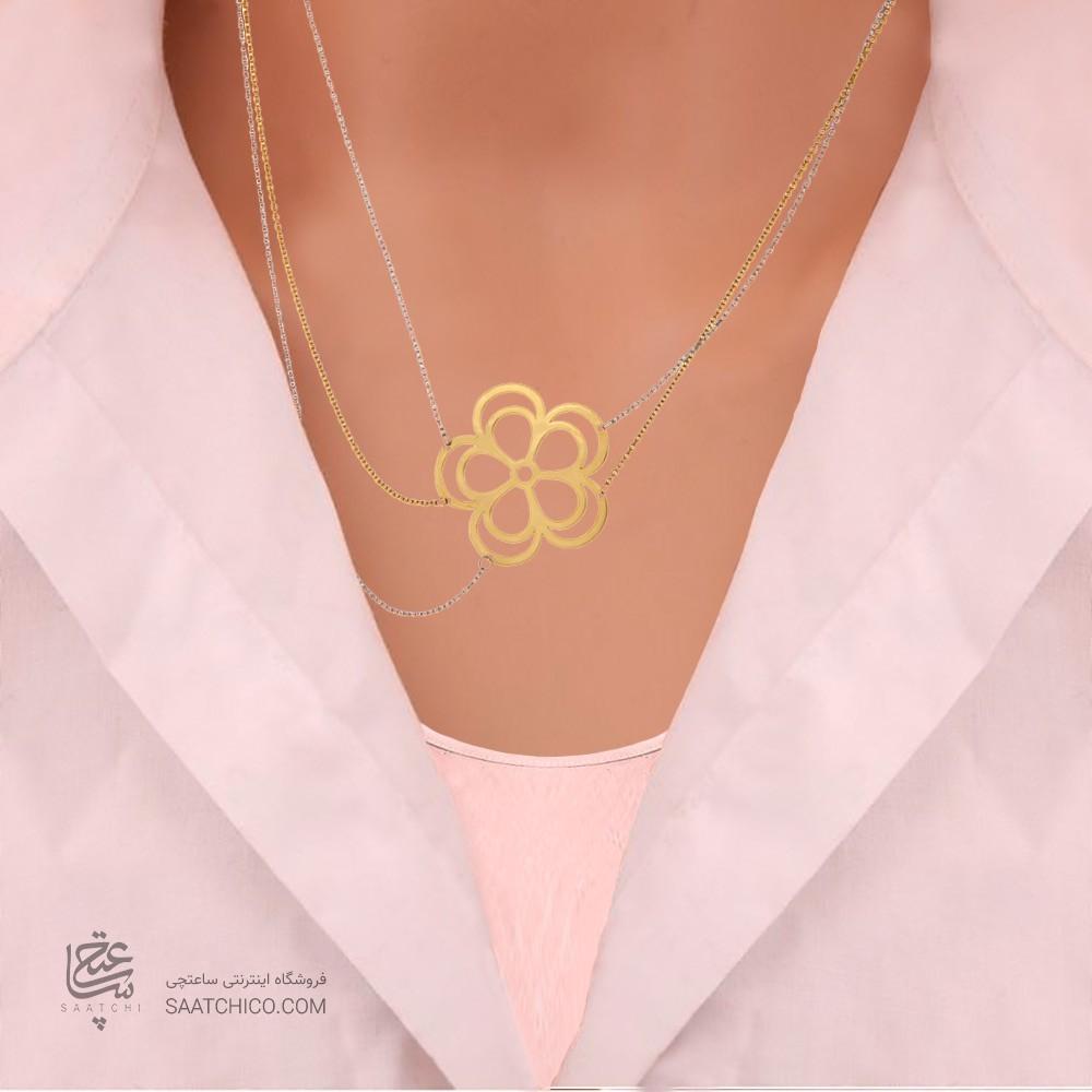 گردنبند طلا زنانه طرح گل کد ln802