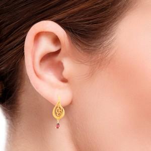 گوشواره طلا زنانه طرح اشک با سنگ کد ce328