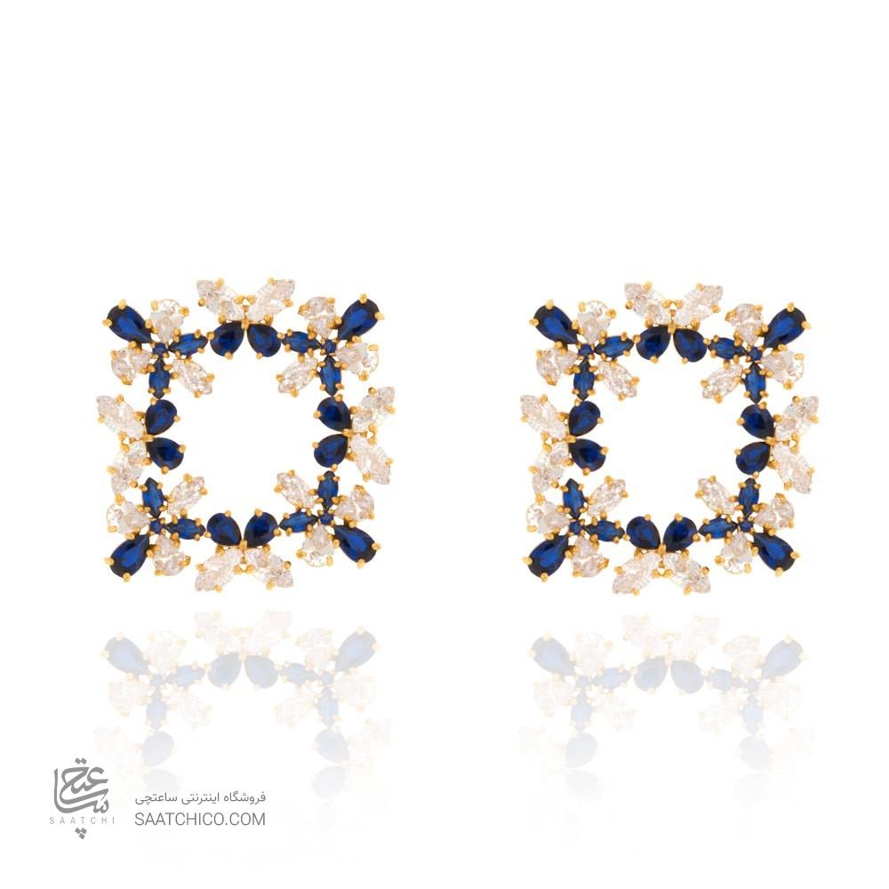 گوشوار ه طلا زنانه طرح پروانه با سنگ کد ce330