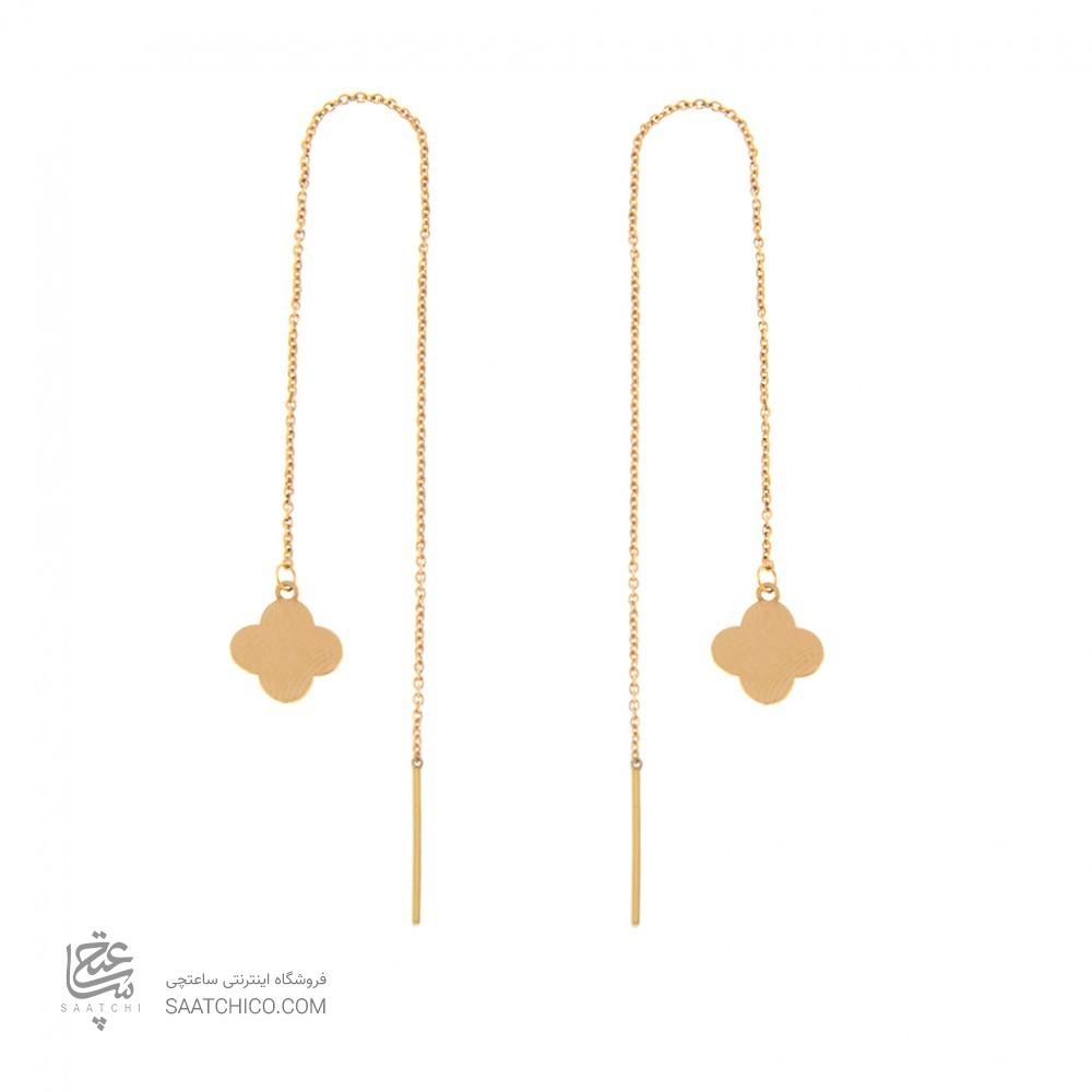 گوشواره طلا زنانه طرح گل چهار پر ونکلیف کد le607