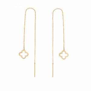 گوشواره طلا زنانه طرح گل چهار پر ونکلیف کد le608