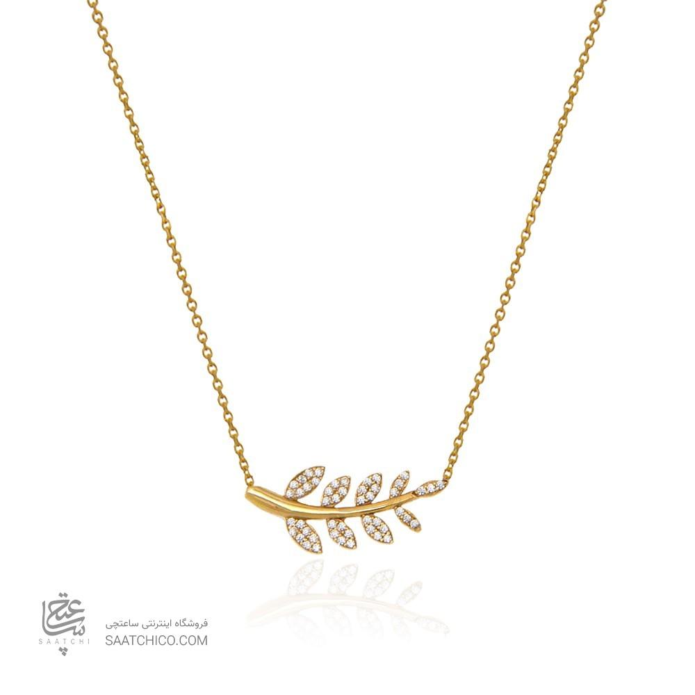 گردنبند طلا زنانه طرح ساقه گل با برگ های ناهمسان و نگین های cz کد cn344