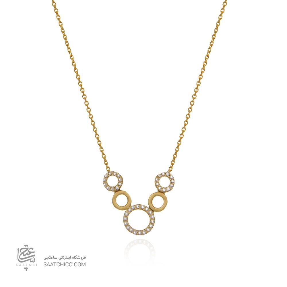 گردنبند طلا زنانه طرح 5 دایره به شکل V با نگین های cz کد cn345