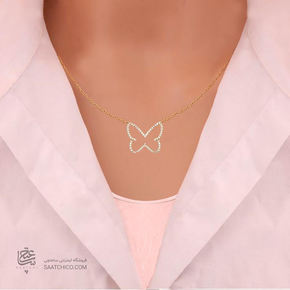 گردنبند طلا زنانه طرح پروانه با نگین های cz  کد cn347