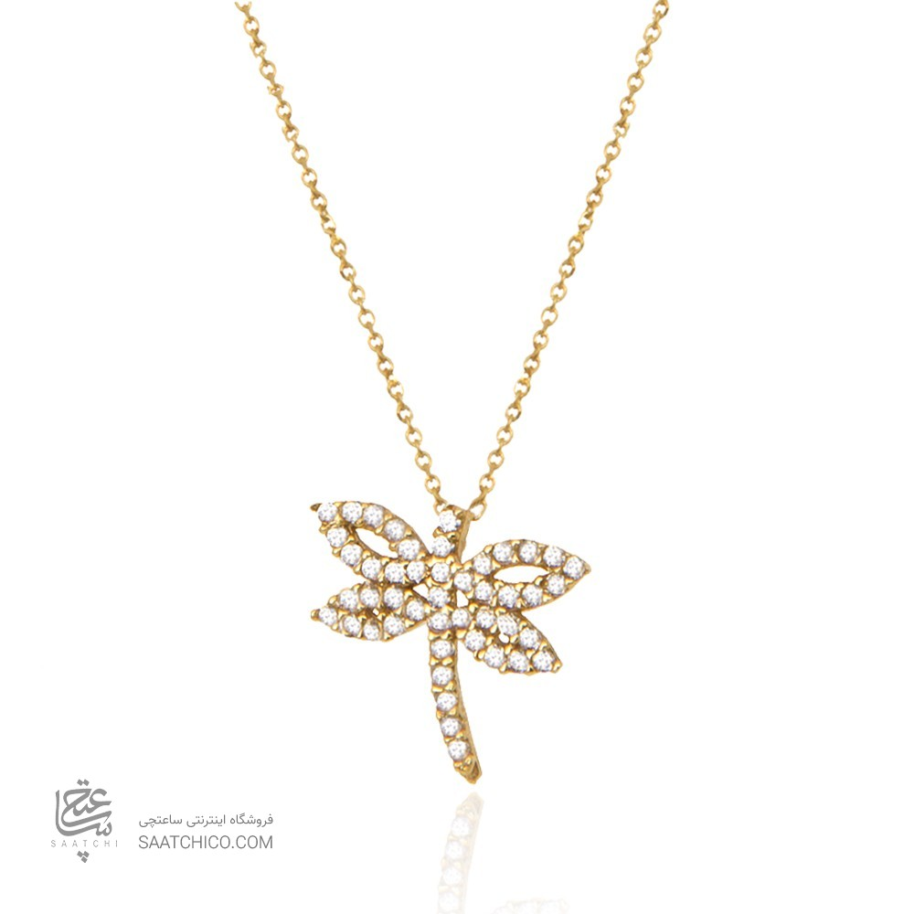 گردنبند طلا زنانه طرح سنجاقک با نگین cz کد cn349