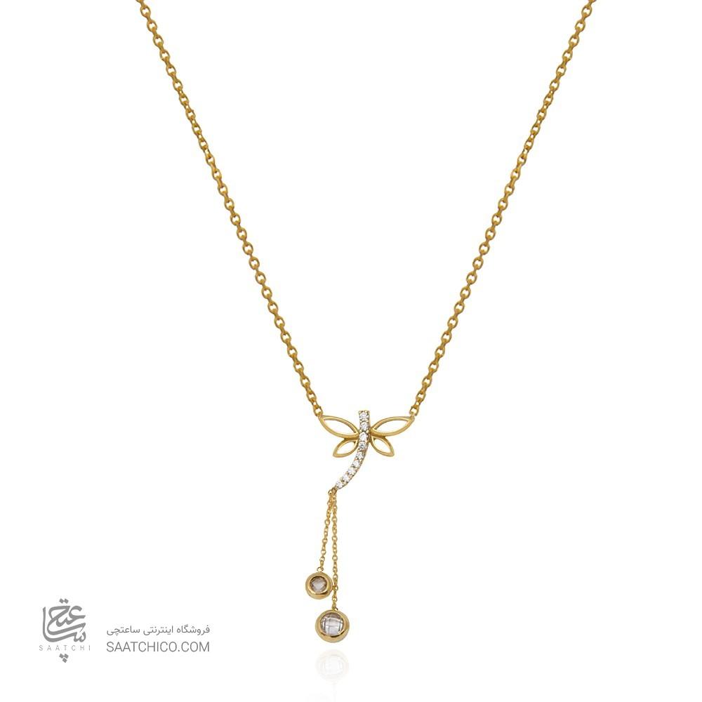 گردنبند طلا زنانه طرح سنجاقک با نگین cz کد cn350