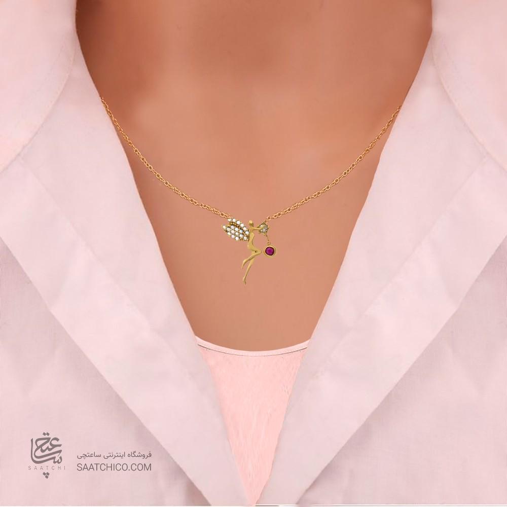 گردنبند طلا زنانه طرح فرشته با نگین cz کد cn351