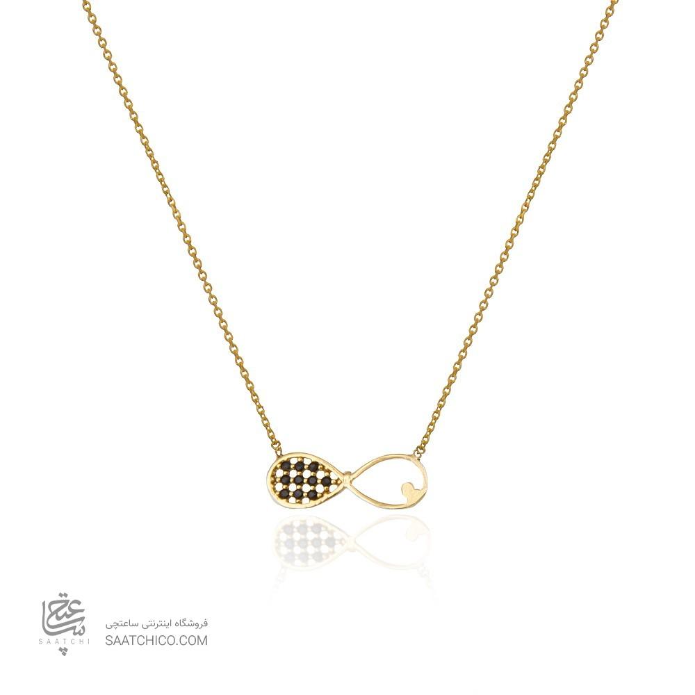 گردنبند طلا زنانه طرح بی نهایت با نگین های cz کد cn354