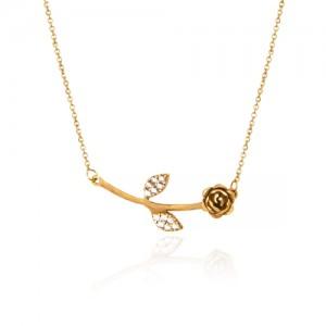 گردنبند طلا زنانه طرح گل رز با برگهای نگیندار کد CN355
