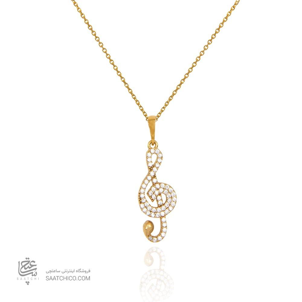 آویز طلا زنانه طرح کلید سل با نگین های cz کد cp326
