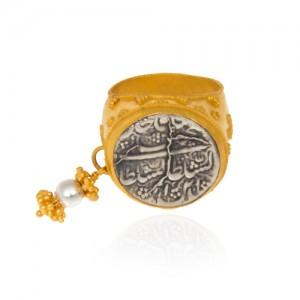 انگشتر طلا زنانه با سکه نقره کد cr366
